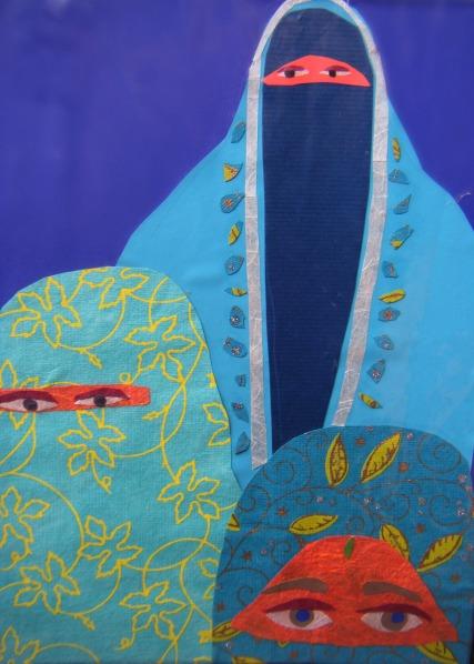 """""""3 Women in Burkhas"""" / Collage ©Copyright 2015, Debra Bretton Robinson"""