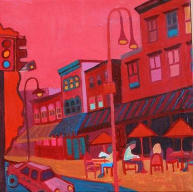 """Burlington Cafe"" / Acrylic on Canvas by Debra Bretton Robinson ©Copyright 2015, Debra Bretton Robinson"